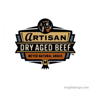 Artisan, Dry Aged Beef by Meyer Natural Angus Logo Design